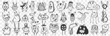 Scary cartoon characters hand drawn doodle set