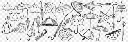 Umbrella doodle set. Collection of hand drawn various open and closed umbrellas for protecting from rainy weather isolated on transparent background. Illustration of stylish casual accessory
