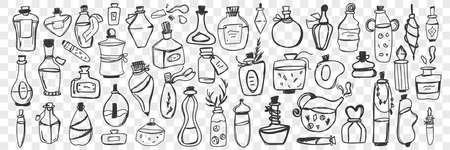 Glass containers doodle set. Collection of hand drawn bottle, jar, vial, flask for keeping liquids at home isolated on transparent background. Illustration of glassware of various sizes and shapes Illusztráció