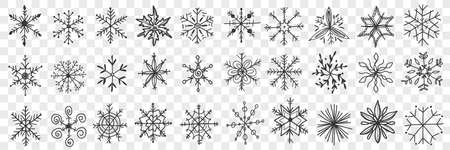 Snowflakes hand drawn doodle set