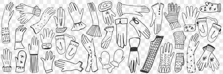 Gloves and mittens hand drawn doodle set