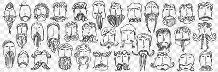 Beard and mustache hand drawn doodle set