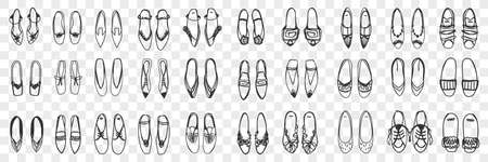 Pairs of feminine shoes doodle set