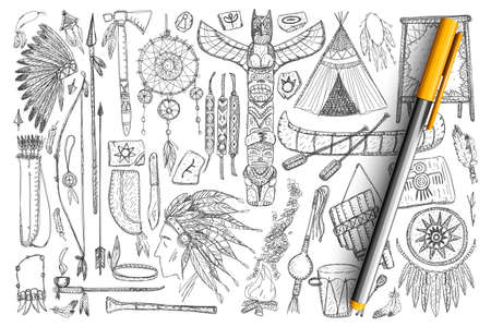 Accessories if Indians doodle set