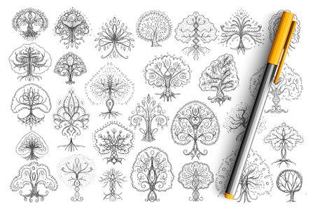 Trees elegant patterns doodle set
