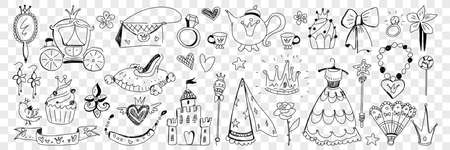 Princess clothes and lifestyle attributes doodle set