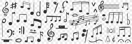 Musical notes drawings doodle set