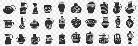 Jugs and containers doodle set