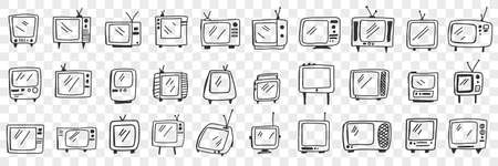 Old fashioned television set doodle set