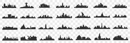 Silhouettes of city doodle set 向量圖像
