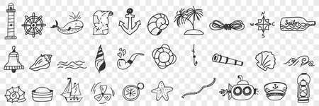 Sailing and nautical equipment doodle set 向量圖像