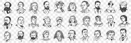 Portraits of middles ages people doodle set