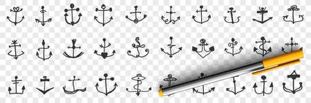 Anchors for ships doodle set 向量圖像