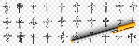 Crosses of various shapes doodle set 向量圖像
