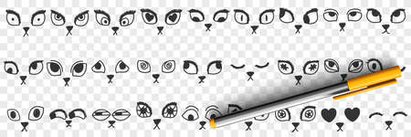 Cats eyes and noses doodle set