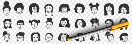 Hairstyle of brunette woman doodle set