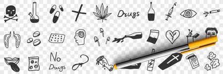 Danger of drugs doodle set