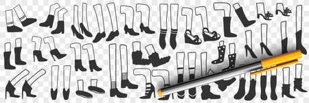 Boots and shoes doodle set