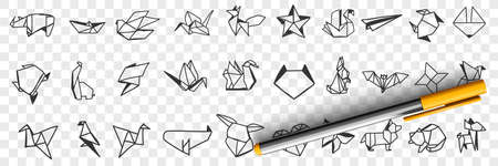 Origami decorative papers doodle set 向量圖像