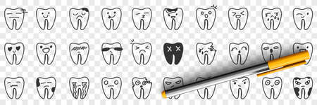 Healthy and unhealthy tooth doodle set