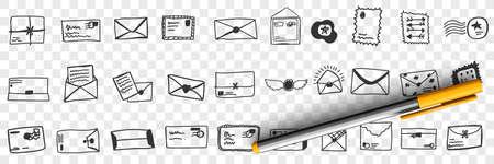 Envelopes with letters doodle set 向量圖像