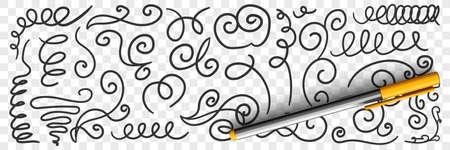 Ornate florid scribbles lines doodle set