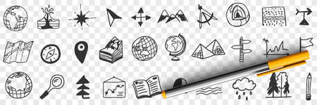 Navigation tools and equipment doodle set 向量圖像