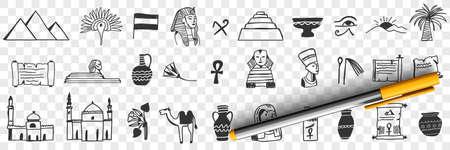 Sightseeings of Egypt doodle set 向量圖像