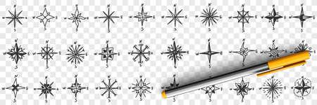 Cardinal points on compass doodle set 向量圖像