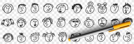 Funny children faces doodle set