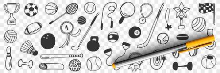 Sport games equipment doodle set