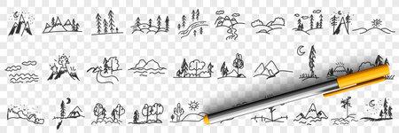 Nature landscapes and scenics doodle set 向量圖像