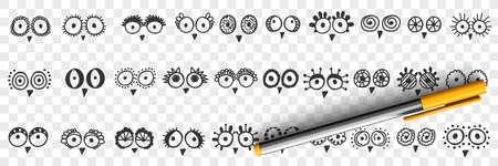 Birds eyes and beak doodle set