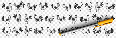 Hens and roosters doodle set 向量圖像