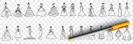 Feminine elegant dresses doodle set 向量圖像