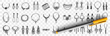 Jewellery and accessories doodle set