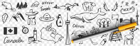 Canadian symbols and signs doodle set 向量圖像