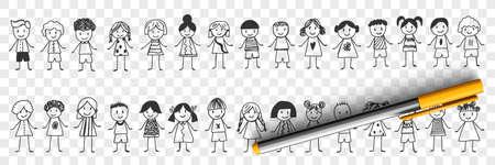 Happy boys and girls doodle set 向量圖像