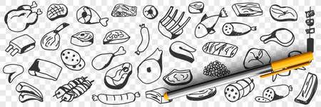 Meat sausages fish doodle set