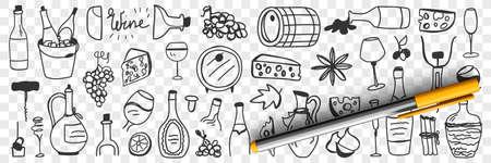 Goods for wine making doodle set 向量圖像