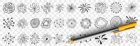 Star patterns and lines drawings doodle set