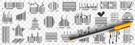 Barcodes on packs doodle set