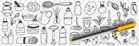 Beauty treatments and cosmetics doodle set 向量圖像