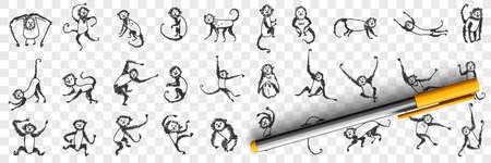 Monkeys enjoying life doodle set