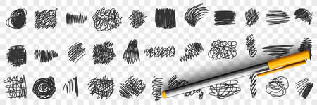Written by pen or pencil Scribbles drawings doodle set