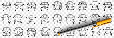 Cars hood and windshield doodle set 向量圖像