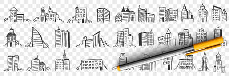 Silhouettes of city skyscrapers doodle set