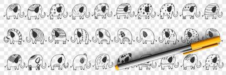 Various elephants animals doodle set