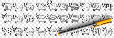 Cute cows in rows doodle set