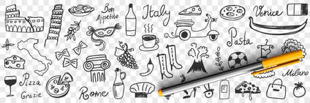 Symbols of Italy doodle set 向量圖像
